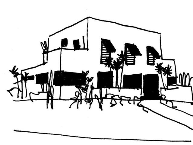 Dibujo a mano alzada de la casa Modernista de la Rua Santa Cruz