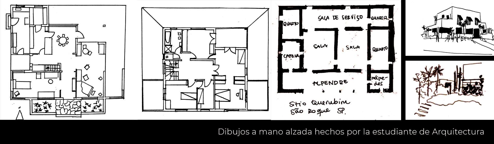 Dibujos de la casa Modernista de la Rua Santa Cruz