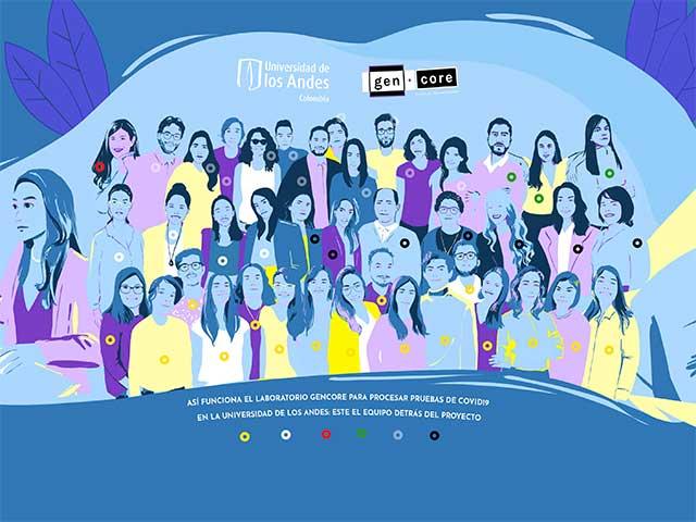Ilustración digital del equipo del laboratorio Covid - Uniandes